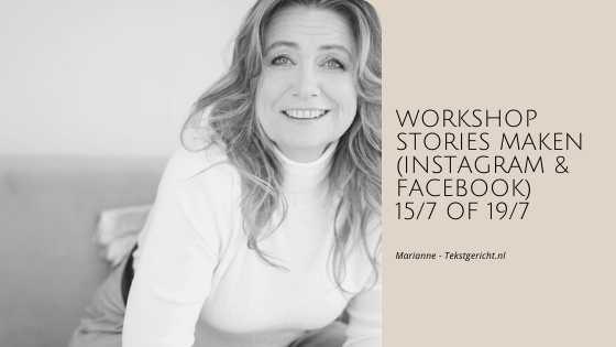 workshop Stories maken marianne schrijfcoach ondernemers