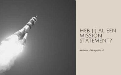 Heb jij al een mission statement?